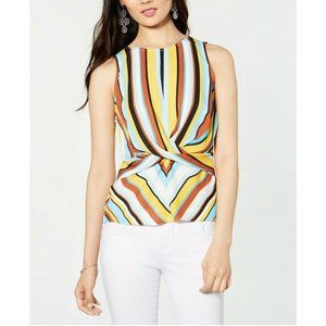 INC L Yellow Blue Candied Stripe Top NWT BP46